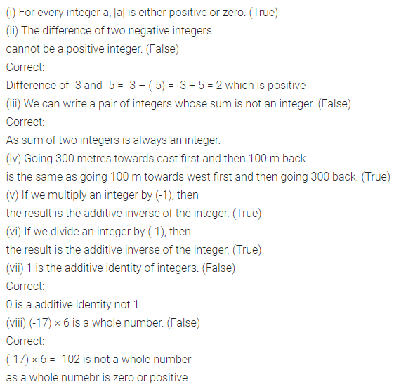 ML Aggarwal Class 7 Solutions for ICSE Maths Chapter 1 Integers Objective Type Questions 3