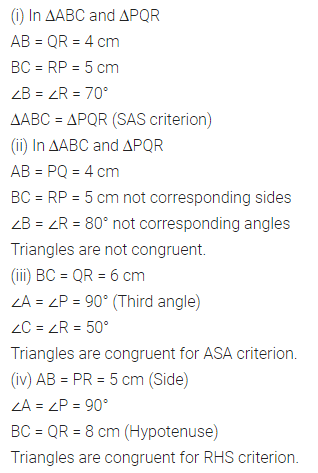 ML Aggarwal Class 7 Solutions for ICSE Maths Chapter 12 Congruence of Triangles Check Your Progress 4
