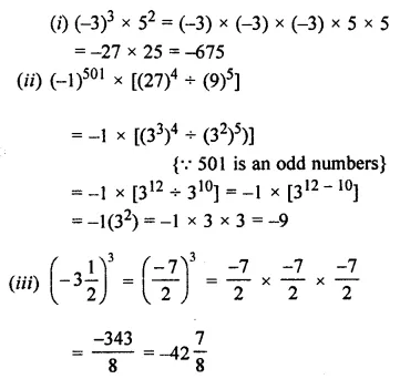 ML Aggarwal Class 7 Solutions for ICSE Maths Chapter 4 Exponents and Powers Check Your Progress 1