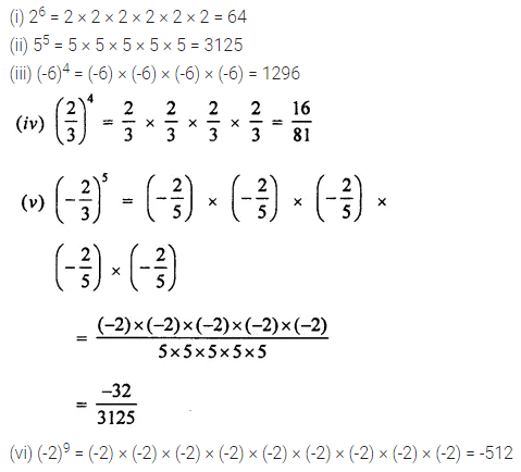 ML Aggarwal Class 7 Solutions for ICSE Maths Chapter 4 Exponents and Powers Ex 4.1 3