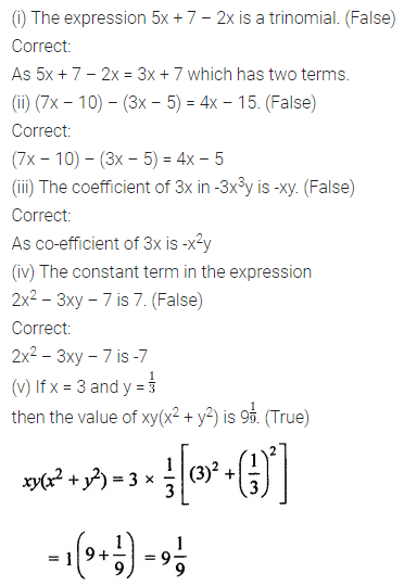 ML Aggarwal Class 7 Solutions for ICSE Maths Chapter 8 Algebraic Expressions Objective Type Questions 2
