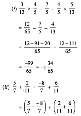 ML Aggarwal Class 8 Solutions for ICSE Maths Chapter 1 Rational Numbers Check Your Progress 10