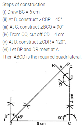 ML Aggarwal Class 8 Solutions for ICSE Maths Chapter 14 Constructions of Quadrilaterals Check Your Progress 5