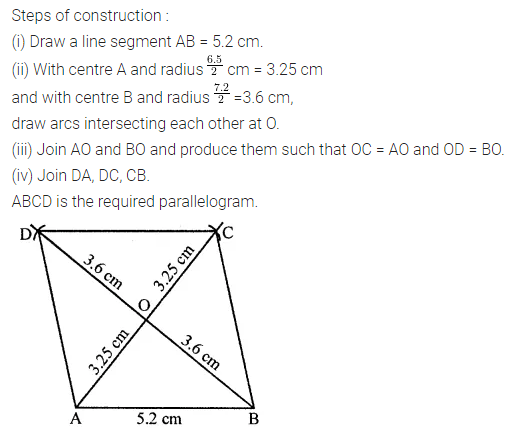 ML Aggarwal Class 8 Solutions for ICSE Maths Chapter 14 Constructions of Quadrilaterals Check Your Progress 6