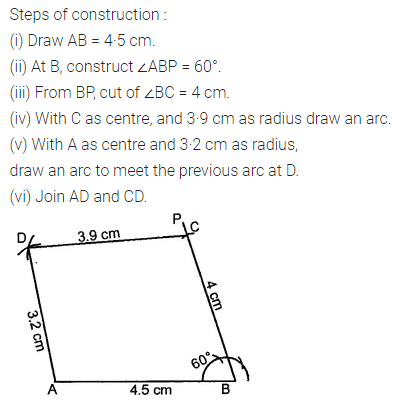 ML Aggarwal Class 8 Solutions for ICSE Maths Chapter 14 Constructions of Quadrilaterals Ex 14.1 10