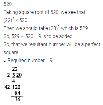 ML Aggarwal Class 8 Solutions for ICSE Maths Chapter 3 Squares and Square Roots Check Your Progress 17