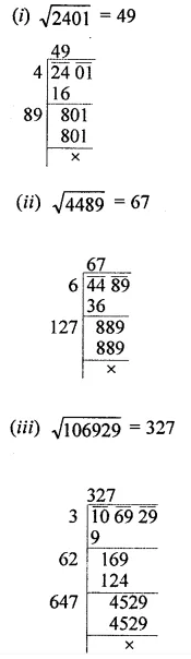 ML Aggarwal Class 8 Solutions for ICSE Maths Chapter 3 Squares and Square Roots Ex 3.4 1