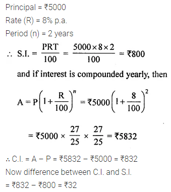 ML Aggarwal Class 8 Solutions for ICSE Maths Chapter 8 Simple and Compound Interest Check Your Progress 3