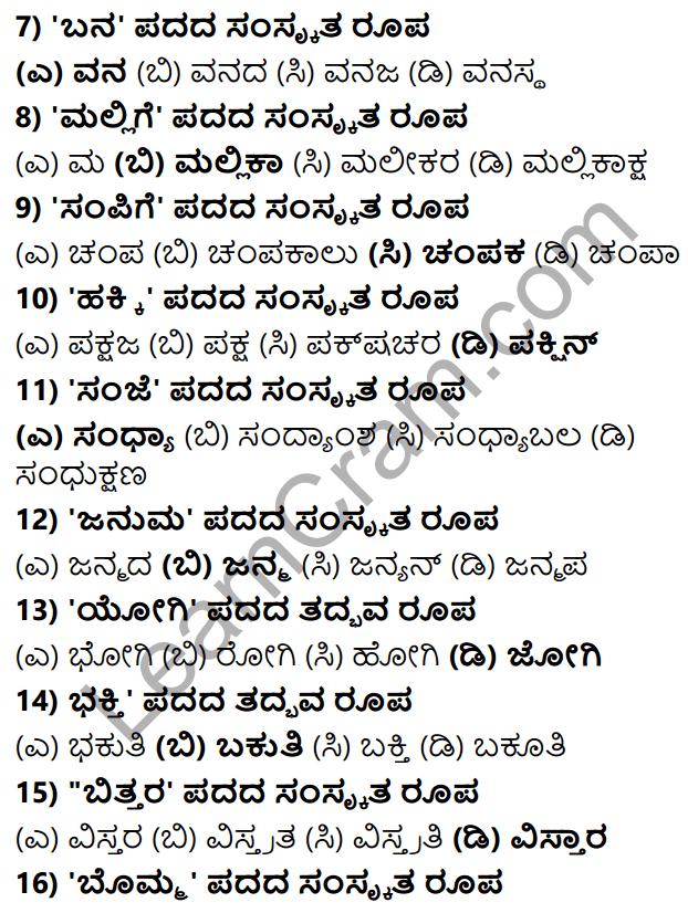 Karnataka SSLC Class 10 Tili Kannada Grammar Anvayika Vyakarana 56