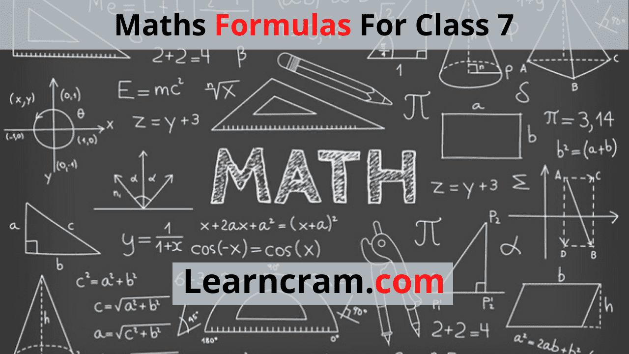 Maths Formulas For Class 7