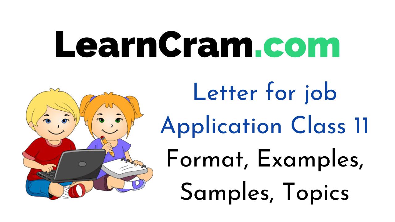 Letter for job Application Class 11