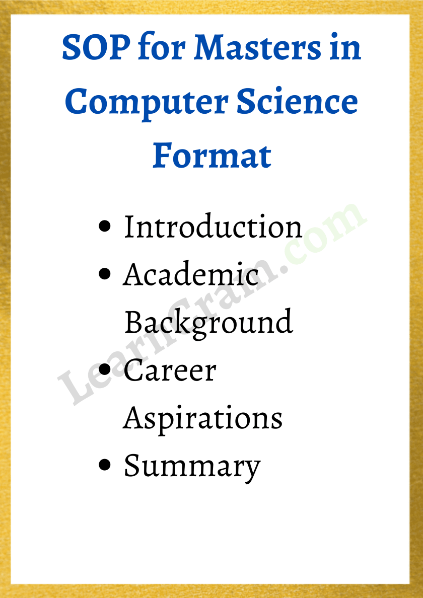 SOP for MS in CS Format