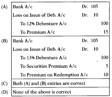 Issue & Redemption of Debentures – Corporate and Management Accounting MCQ 11