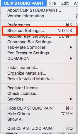 Keyboard Shortcuts menu item