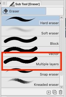 Erase tool options