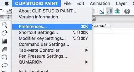 Clip Studio Paint Preferences option in the menu