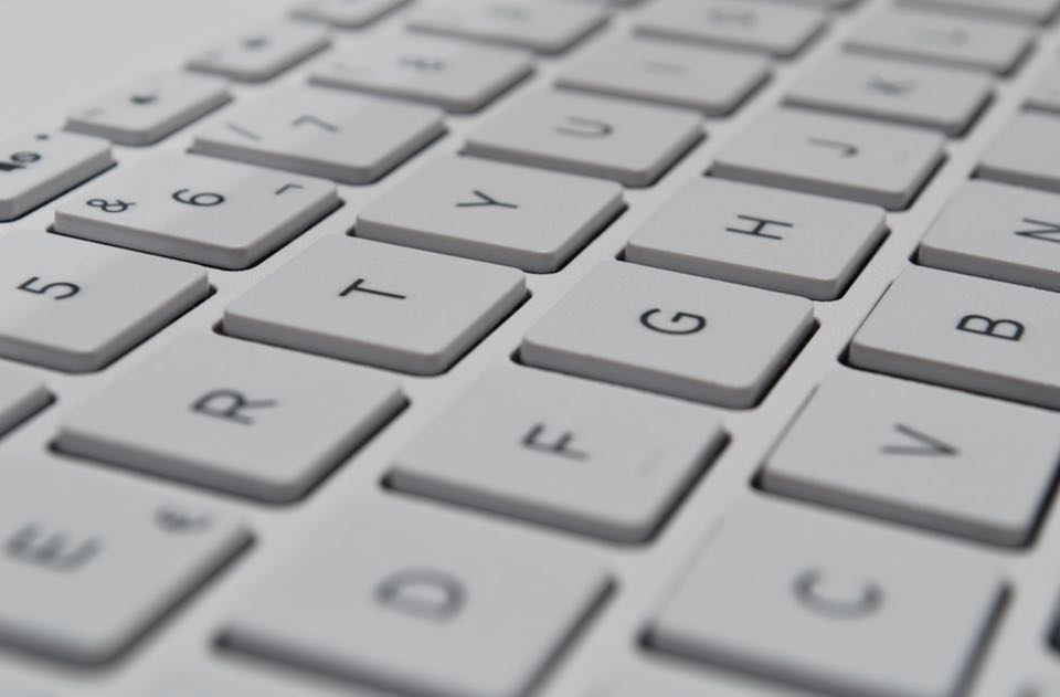 Low angle picture of a computer keyboard