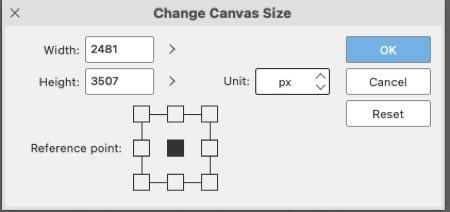 Change Canvas Size window
