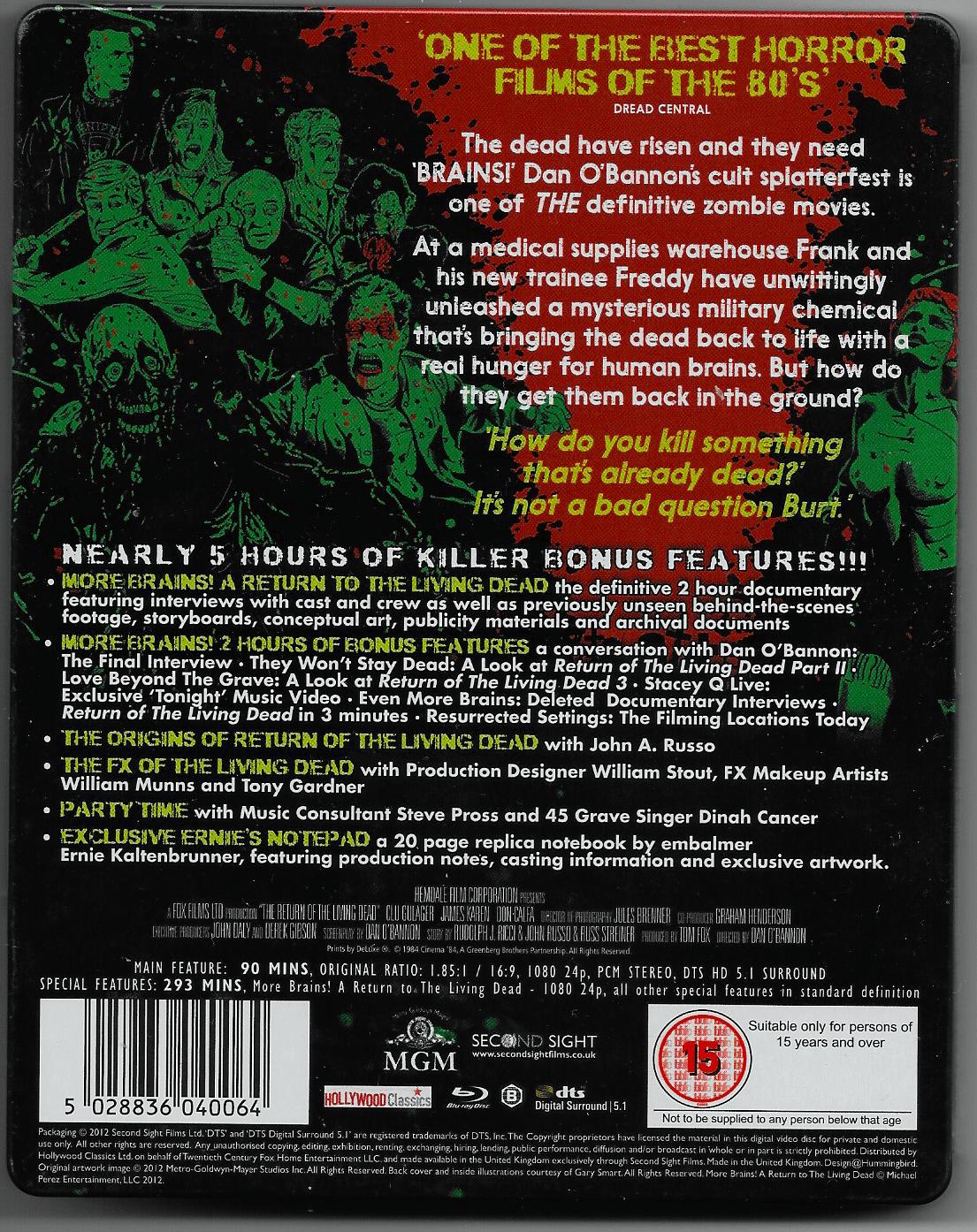 Blu Ray Steelbook, Back.