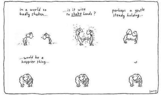 Shaking hands cartoon.