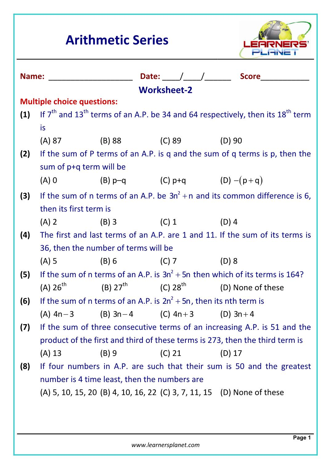 hight resolution of Arithmetic series worksheet problems and solutions