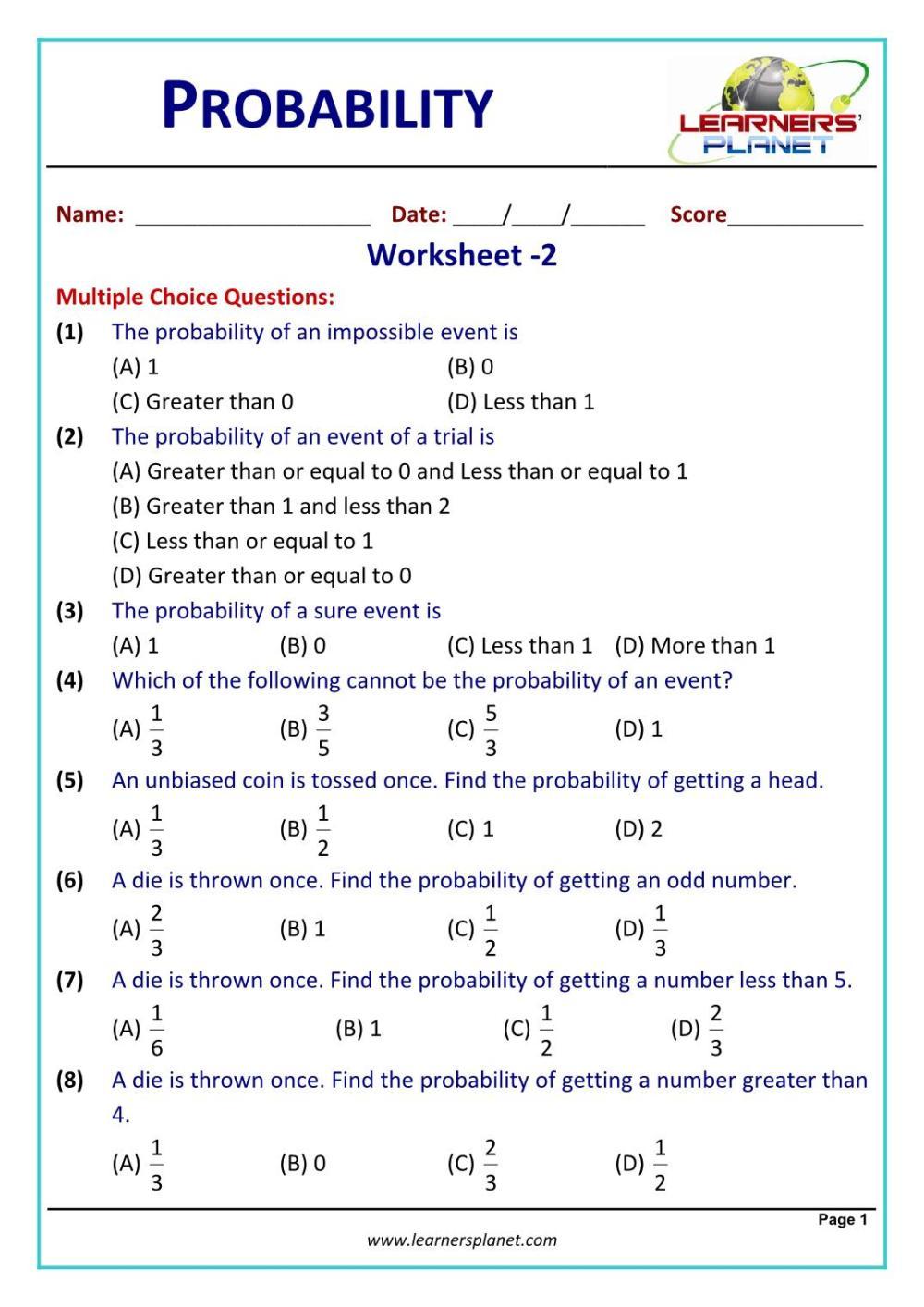 medium resolution of Class 10 math problems probability worksheet