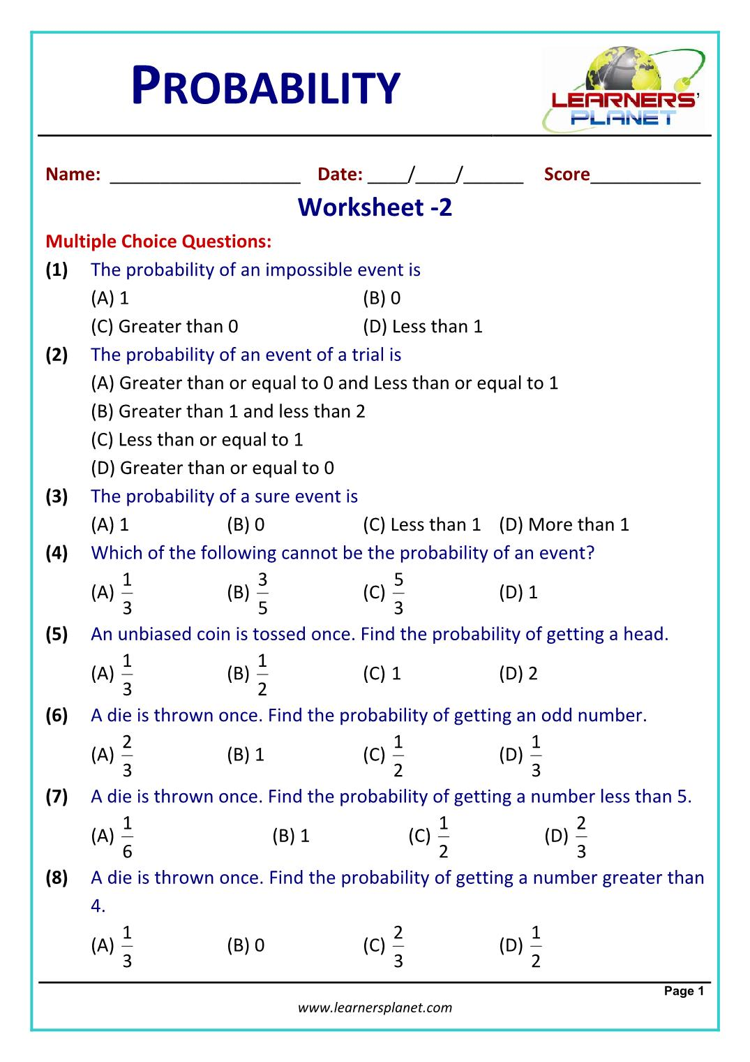 hight resolution of Class 10 math problems probability worksheet