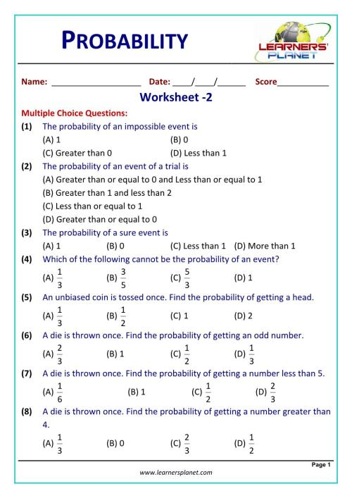 small resolution of Class 10 math problems probability worksheet