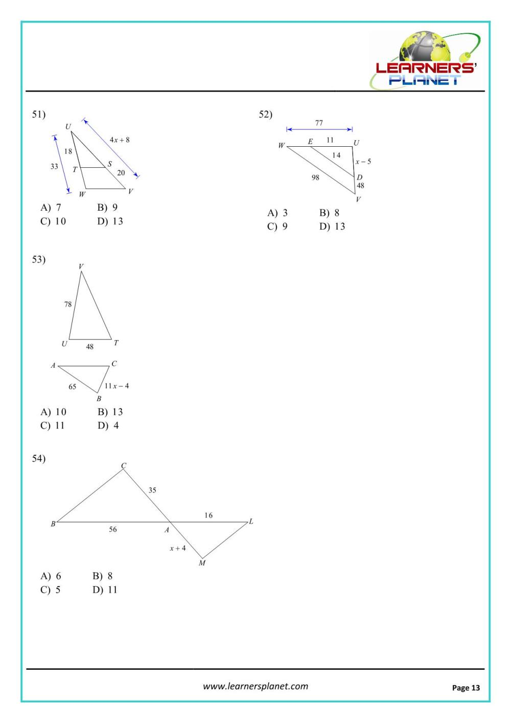 medium resolution of Grade 10 mathematics similar triangles worksheet