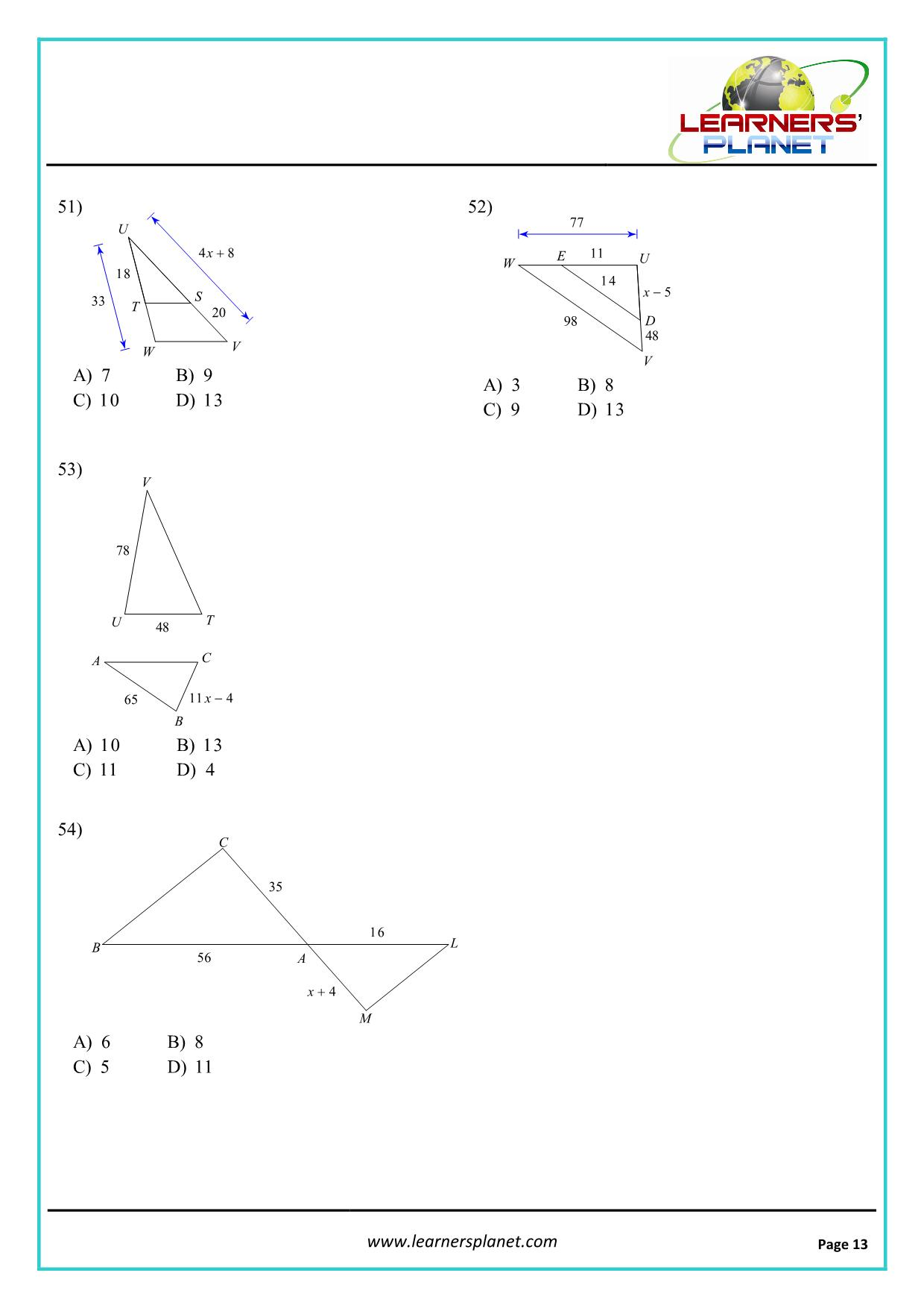 hight resolution of Grade 10 mathematics similar triangles worksheet