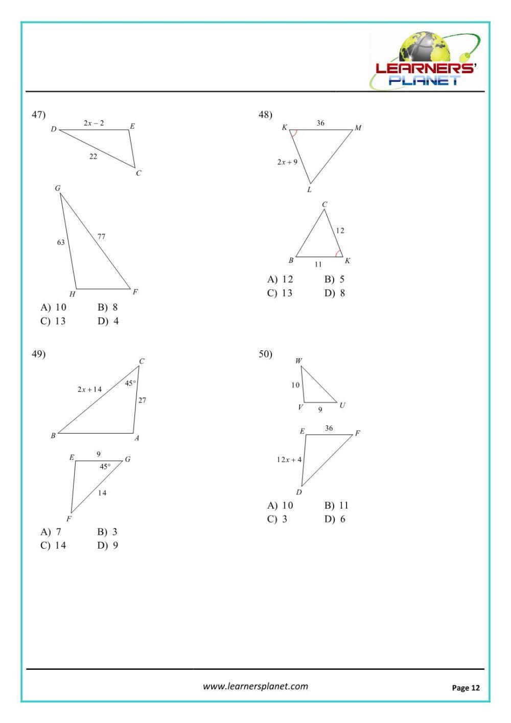 medium resolution of Grade 10 mathematics similar triangles worksheet