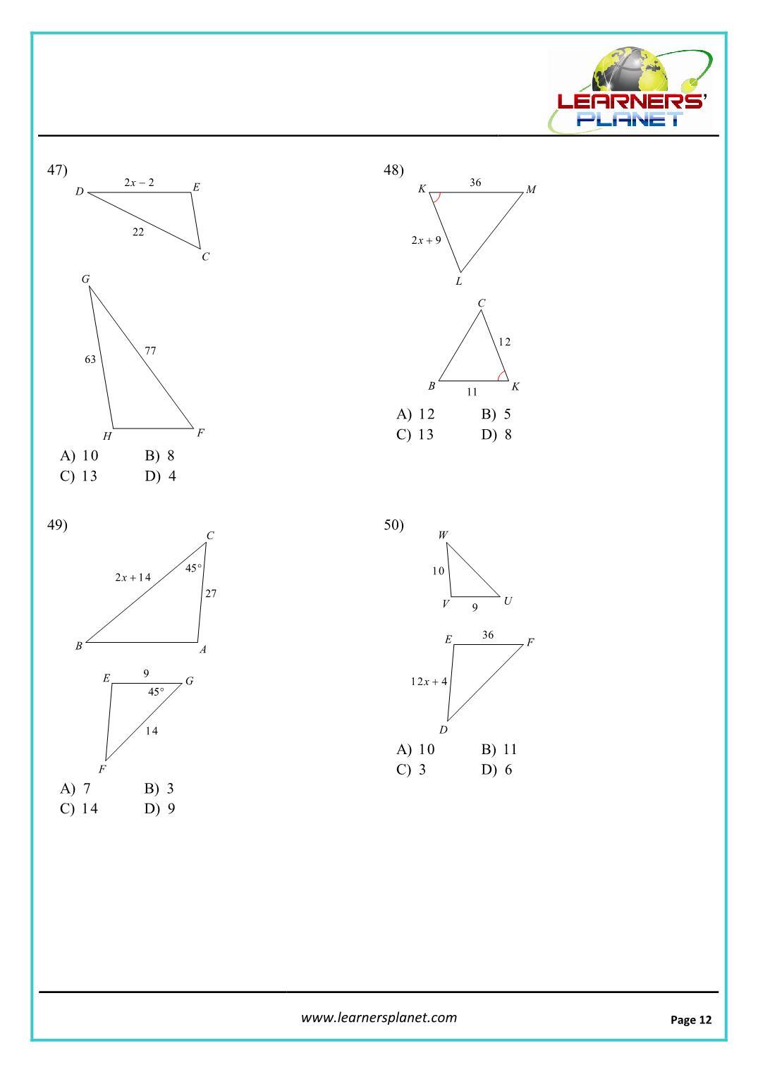 hight resolution of Grade 10 mathematics similar triangles worksheet