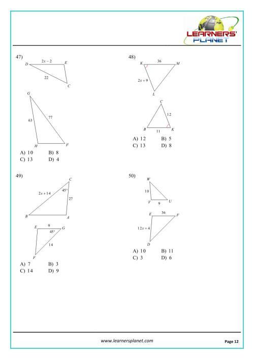small resolution of Grade 10 mathematics similar triangles worksheet