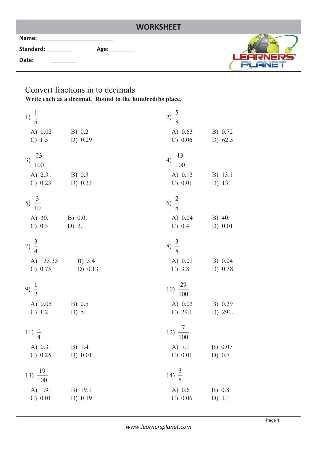 Decimal Worksheet For Grade 5 Cbse