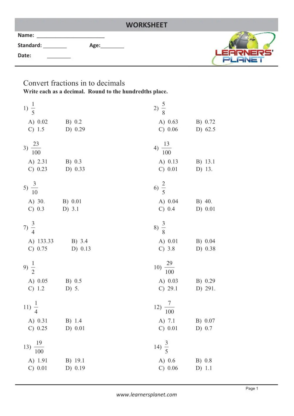 medium resolution of Printable 4th grade math decimal worksheets