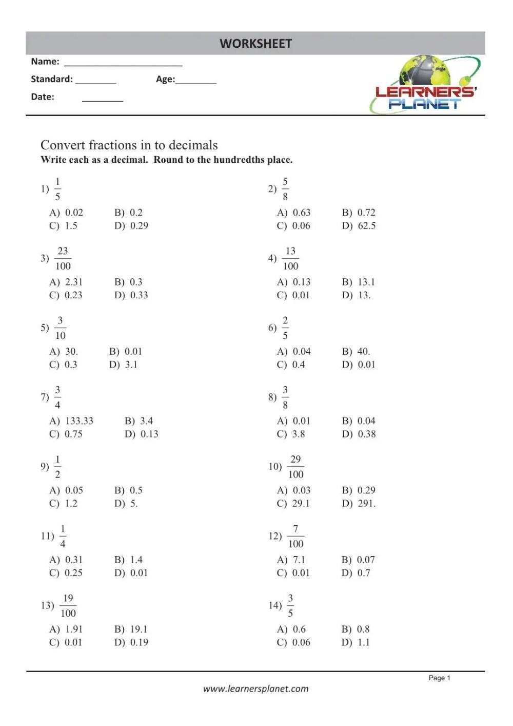 medium resolution of Printable 4th grade math decimal worksheets