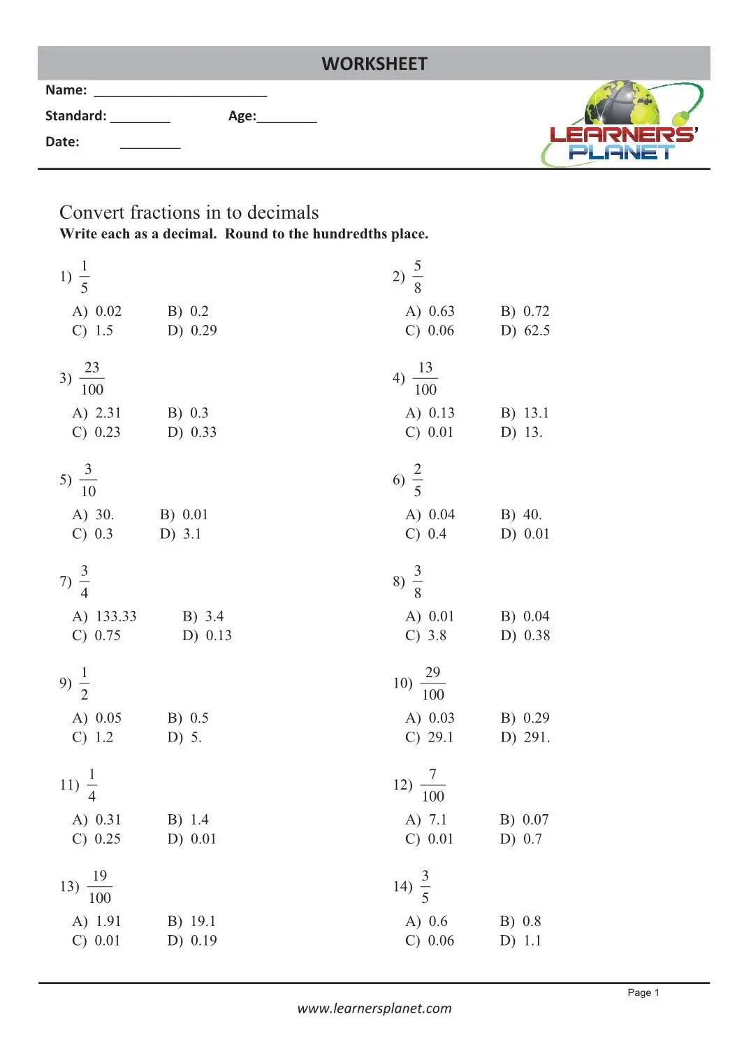 hight resolution of Printable 4th grade math decimal worksheets