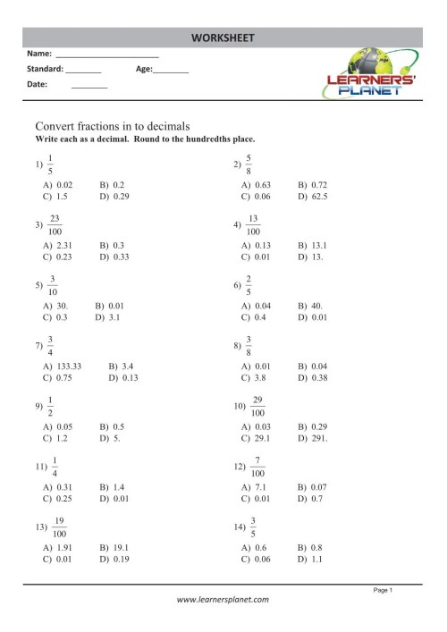 small resolution of Printable 4th grade math decimal worksheets