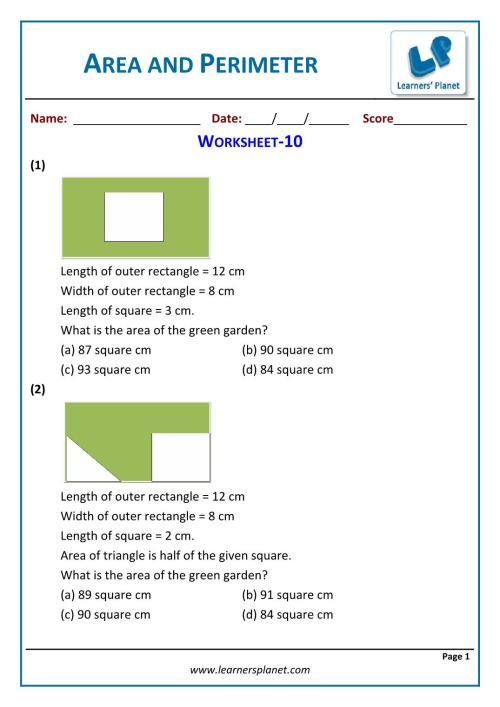small resolution of Word problems area and perimeter for 5th grade