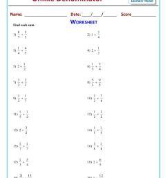 Grade 5 math worksheets adding unlike fractions [ 1754 x 1241 Pixel ]