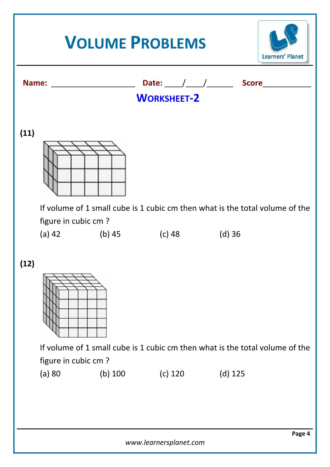hight resolution of 5th grade math volume problems worksheets