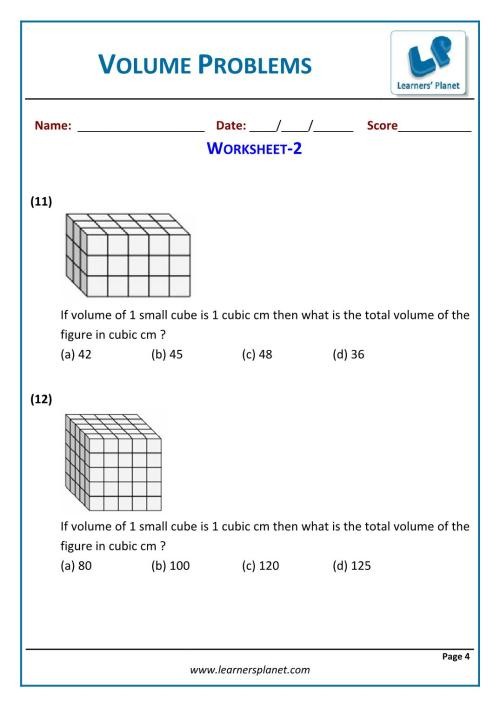 small resolution of 5th grade math volume problems worksheets