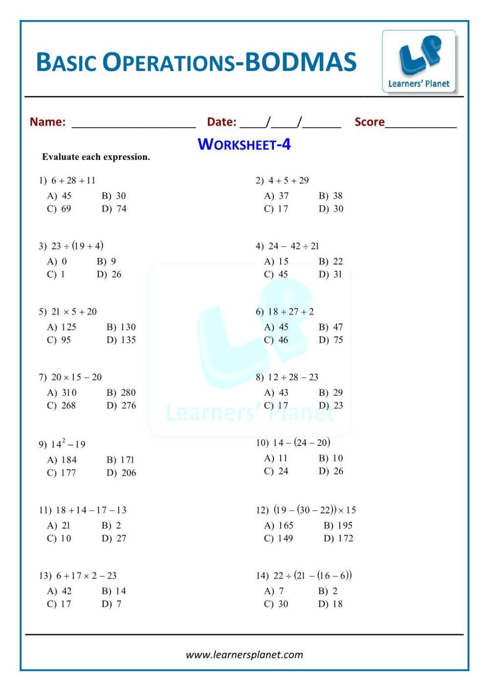 medium resolution of BODMAS practice sheets 6th grade math worksheets on basic operationsBODMAS  practice sheets 6th grade math worksheets on basic operations