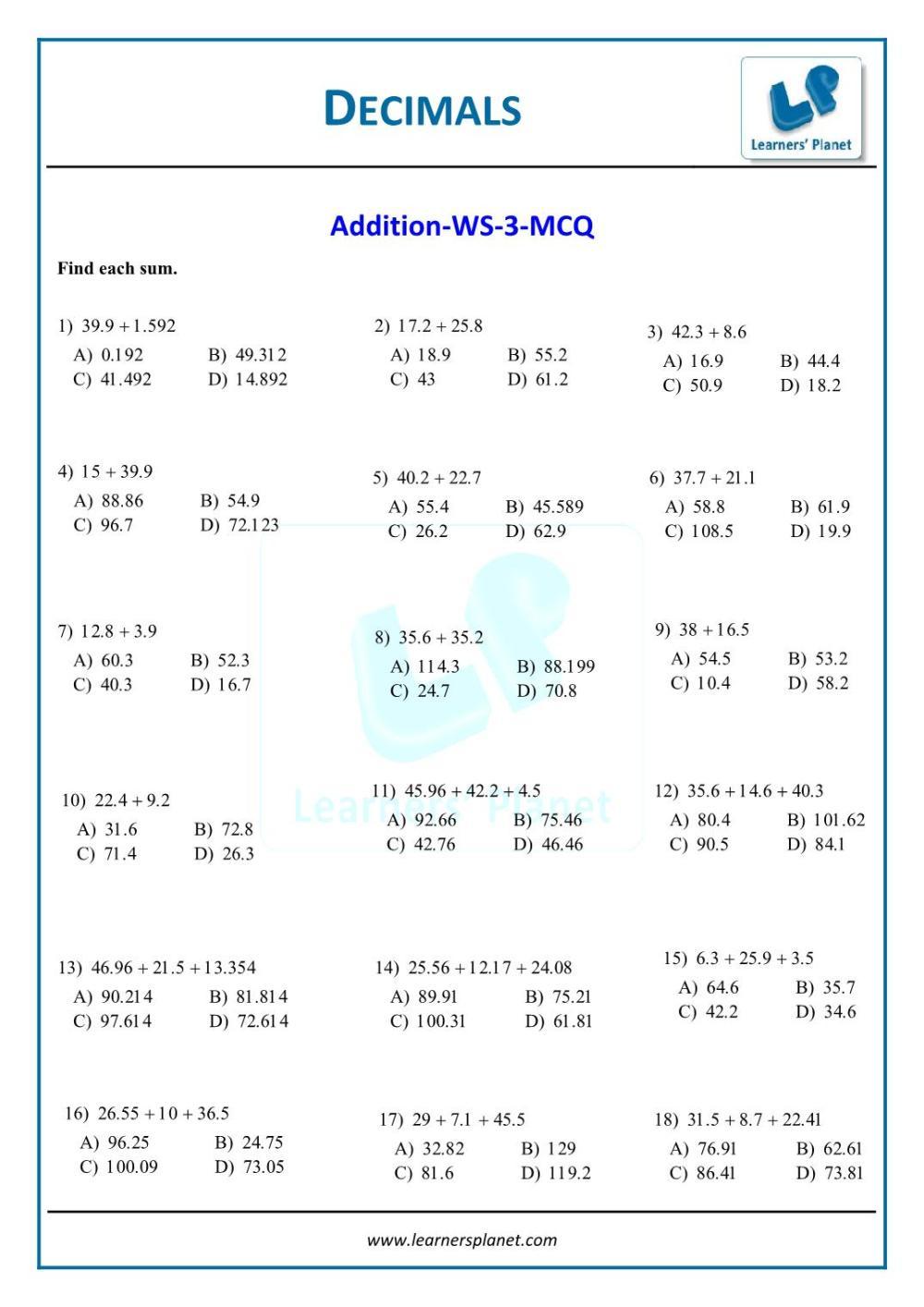 medium resolution of Class vi ncert solution decimals interactive quiz