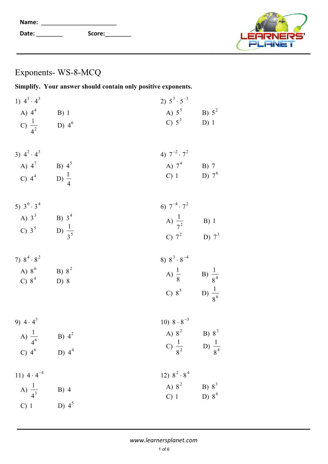 hight resolution of Exponents math worksheet for 7th grade