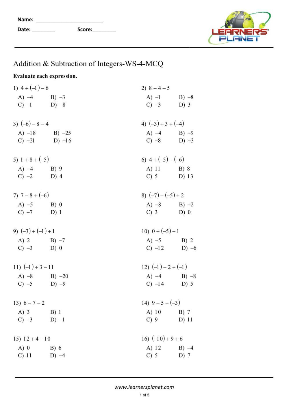 medium resolution of Integers Worksheet For Class 7   Printable Worksheets and Activities for  Teachers