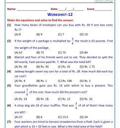 Solve linear equations word problems worksheet grade 7 [ 1755 x 1241 Pixel ]
