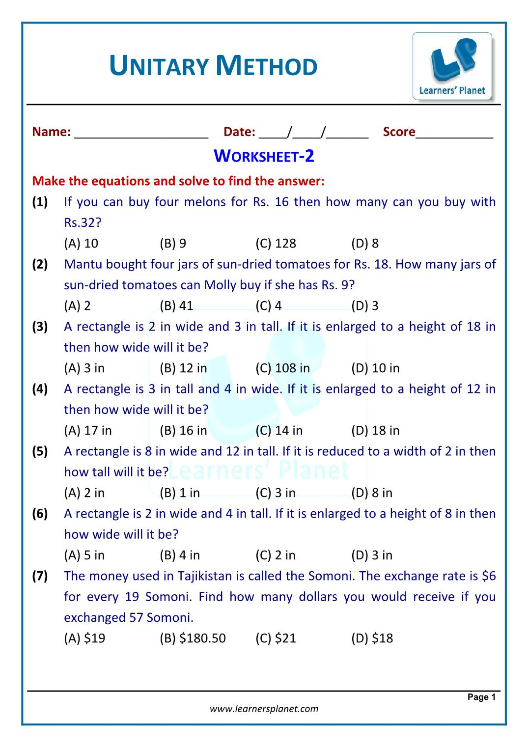 Worksheet Unitary Method