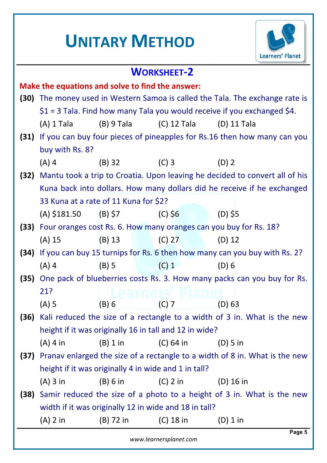 Worksheet On Word Problems On Unitary Method