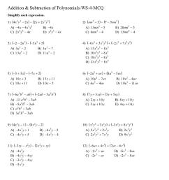 Adding and subtracting polynomials worksheets 8th CBSE [ 1521 x 1075 Pixel ]